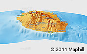 Political Shades Panoramic Map of Reunion, physical outside