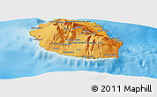 Political Shades Panoramic Map of Reunion, satellite outside, bathymetry sea