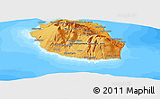 Political Shades Panoramic Map of Reunion, semi-desaturated, land only