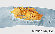 Political Shades Panoramic Map of Reunion, semi-desaturated