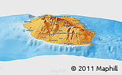 Political Shades Panoramic Map of Reunion, shaded relief outside, bathymetry sea