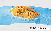 Political Shades Panoramic Map of Reunion, single color outside