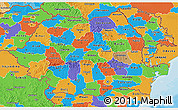 Political 3D Map of Romania
