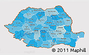 Political Shades 3D Map of Romania, cropped outside