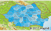 Political Shades 3D Map of Romania, physical outside