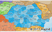 Political Shades 3D Map of Romania