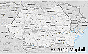 Silver Style 3D Map of Romania