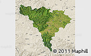 Satellite Map of Alba, shaded relief outside