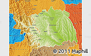 Physical Map of Bacau, political outside