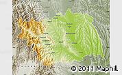 Physical Map of Bacau, semi-desaturated