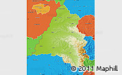 Physical Map of Bihor, political outside