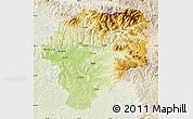 Physical Map of Bistrita-Nasaud, lighten