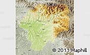 Physical Map of Bistrita-Nasaud, semi-desaturated