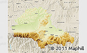Physical Map of Brasov, shaded relief outside