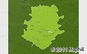 Physical Map of Bucuresti, darken