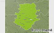 Physical Map of Bucuresti, semi-desaturated