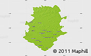 Physical Map of Bucuresti, single color outside