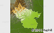 Physical Map of Buzau, darken