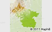 Physical Map of Buzau, lighten