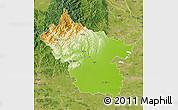 Physical Map of Buzau, satellite outside