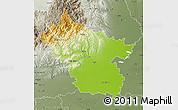 Physical Map of Buzau, semi-desaturated