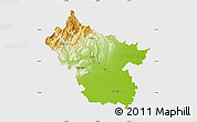 Physical Map of Buzau, single color outside