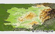 Physical Panoramic Map of Caras-Severin, darken