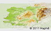 Physical Panoramic Map of Caras-Severin, lighten