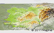 Physical Panoramic Map of Caras-Severin, semi-desaturated