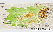 Physical Panoramic Map of Caras-Severin, shaded relief outside