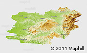 Physical Panoramic Map of Caras-Severin, single color outside