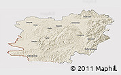 Shaded Relief Panoramic Map of Caras-Severin, cropped outside