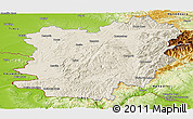 Shaded Relief Panoramic Map of Caras-Severin, physical outside