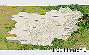Shaded Relief Panoramic Map of Caras-Severin, satellite outside