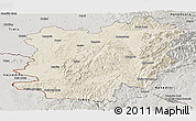 Shaded Relief Panoramic Map of Caras-Severin, semi-desaturated