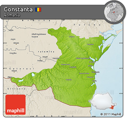 Free Physical Map of Constanta shaded relief outside