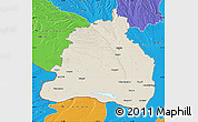 Shaded Relief Map of Dolj, political outside