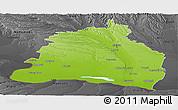 Physical Panoramic Map of Dolj, darken, desaturated