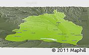 Physical Panoramic Map of Dolj, darken, semi-desaturated