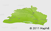 Physical Panoramic Map of Dolj, single color outside