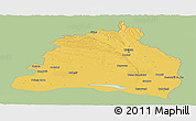 Savanna Style Panoramic Map of Dolj, single color outside