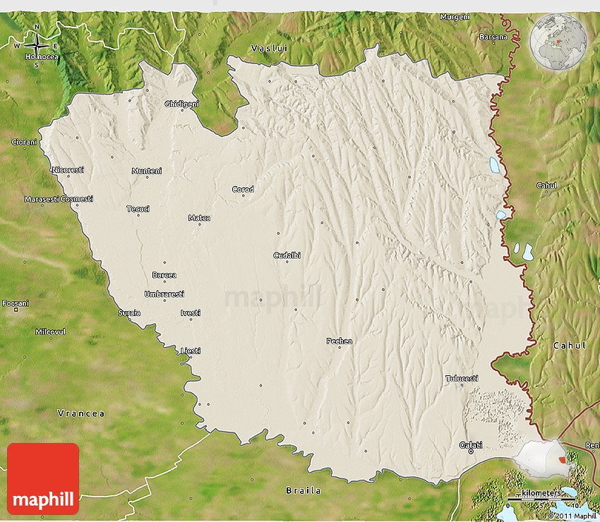 Shaded Relief 3D Map of Galati, satellite outside