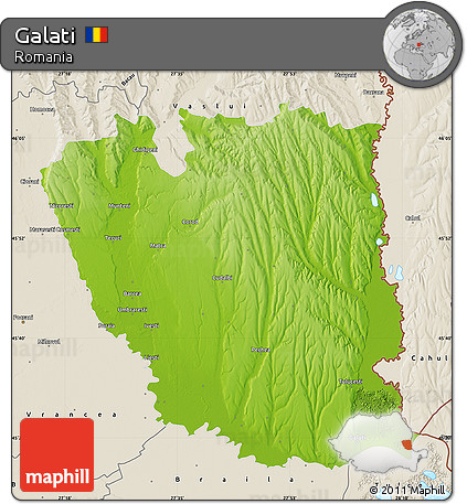 Free Physical Map of Galati, shaded relief outside