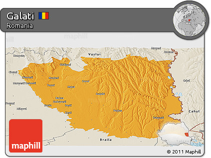 Free Political Panoramic Map of Galati, shaded relief outside