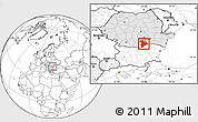 Blank Location Map of Giurgiu, highlighted country