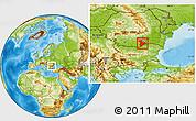 Physical Location Map of Giurgiu