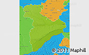 Physical Map of Giurgiu, political outside