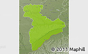 Physical Map of Giurgiu, semi-desaturated