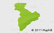 Physical Map of Giurgiu, single color outside