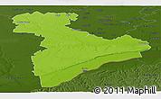 Physical Panoramic Map of Giurgiu, darken